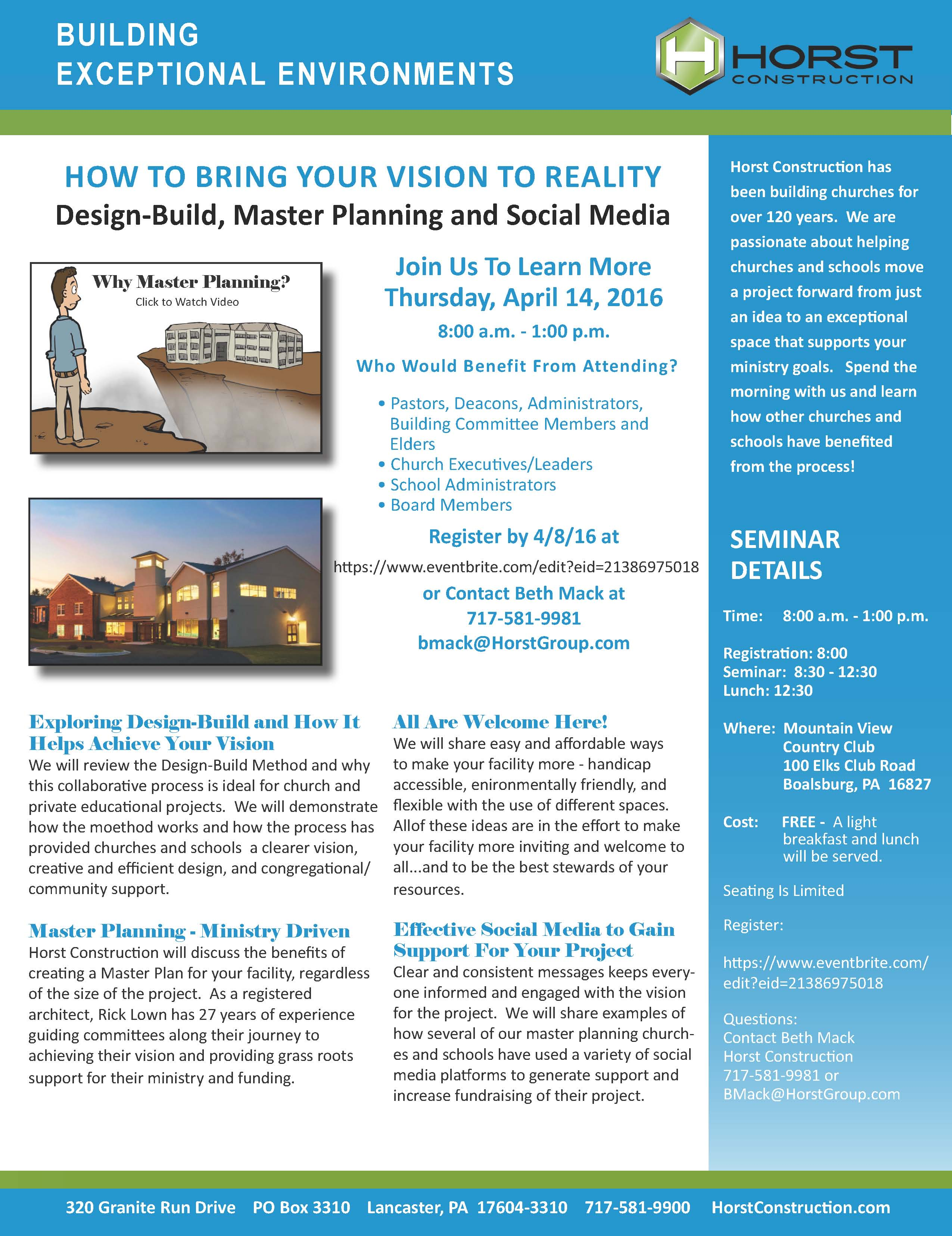 Horst Construction How To Bring Your Vision Reality Seminar Flyer