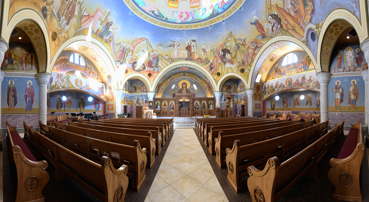 St. Sophia Greek Orthodox Church, Horst Construction, New Holland Church Furniture, Religious Furniture, Pews, Mural, Religious Mural, Iconography, Custom Furniture, Church