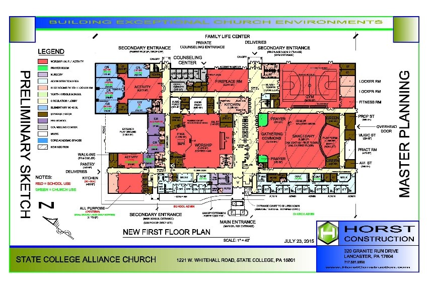 example of master planning sketch of church