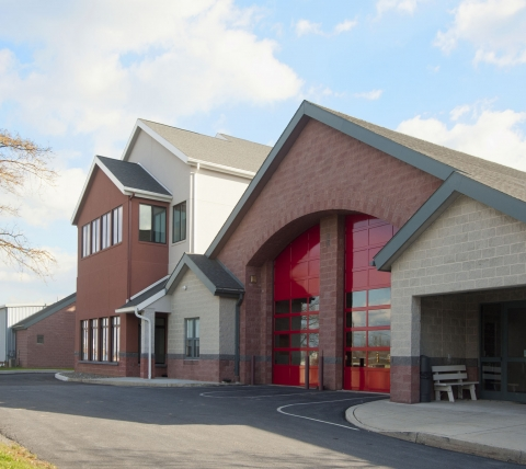 Silver Spring Fire Company Exterior with Red Doors