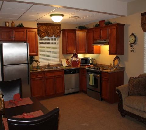 Studio apartment kitchen and sitting area.