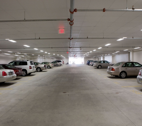 Interior of garage at Village Square Apartments at Garden Spot Village