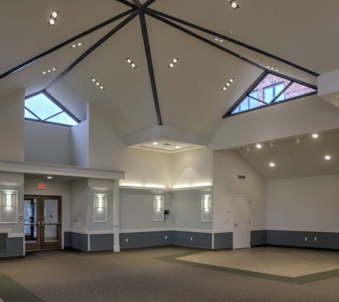 Large activity room with cathedral ceiling at Luther Village III