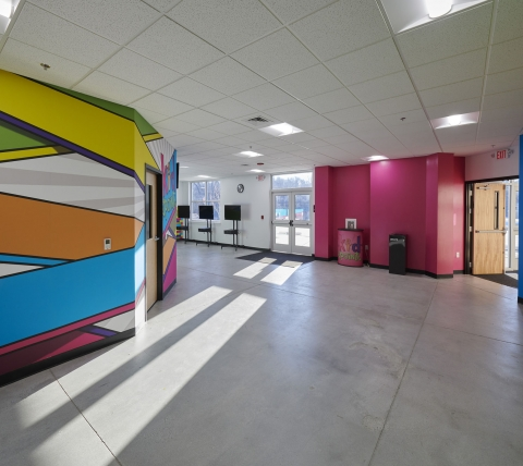 Colorful children's classroom hallway