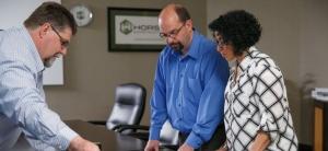 Horst Construction team reviews construction documents