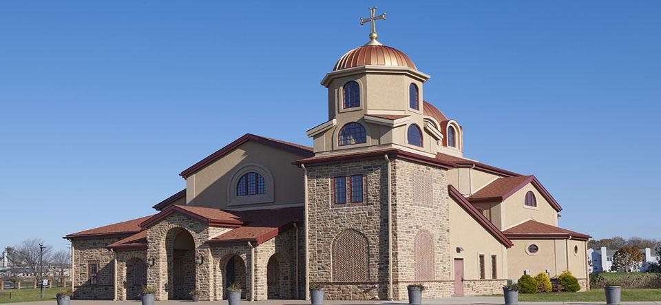 Ornate dome on greek church exterior photo