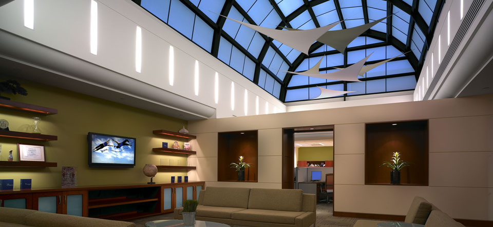 arched skylight over office area