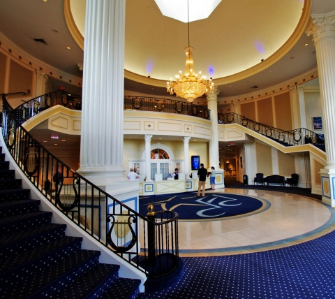american music theatre lobby with double curved staircase