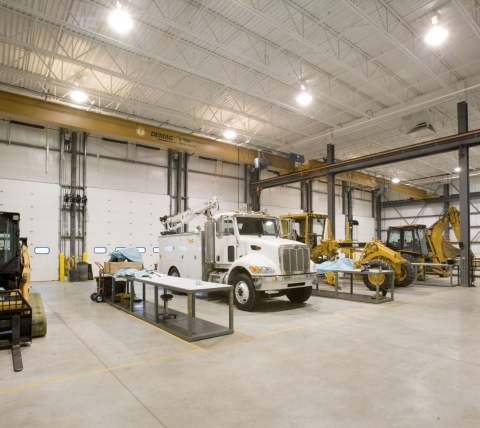 service bays at truck dealership