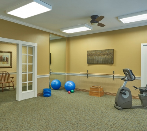 fitness room at retirement community