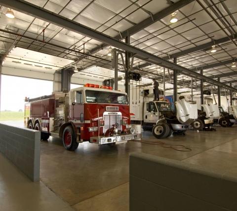interior truck dealership garage bays