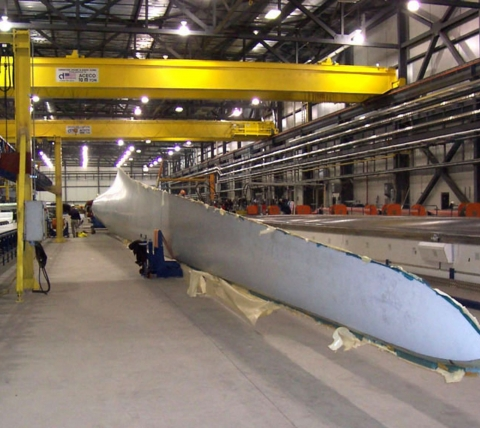 wind turbine blade in manufacturing plant