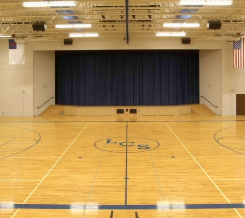 gymnasium with stage