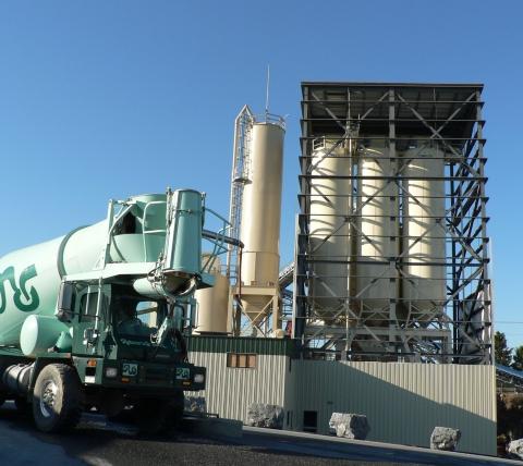 Silos at concrete batch plant