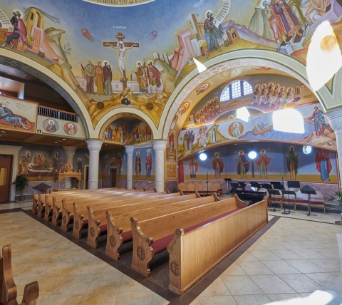 ornate dome interior painting in greek orthodox church