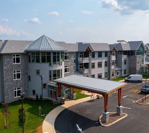 senior living facility front entrance