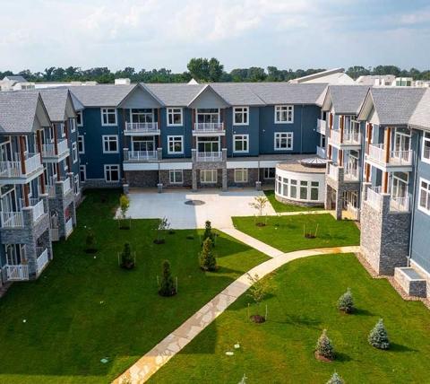 senior living facility courtyard